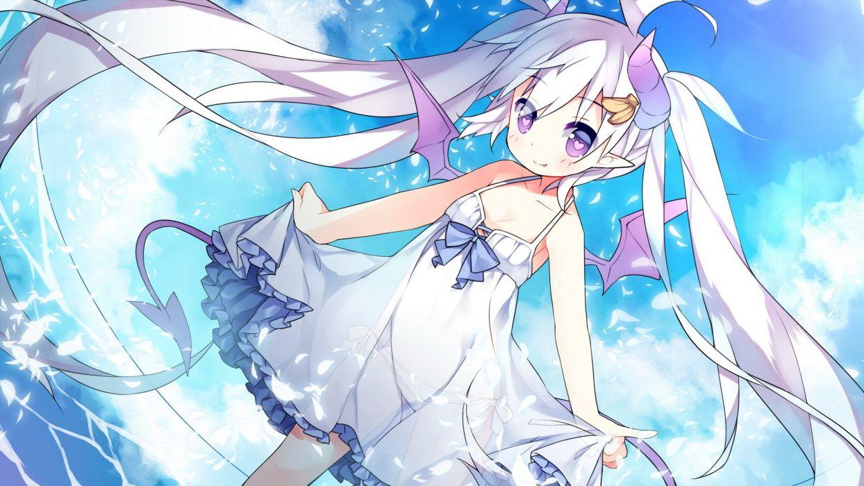 dress horns long hair original panties purple eyes saru see through skirt skirt lift sky tail underwear water wings wallpaper