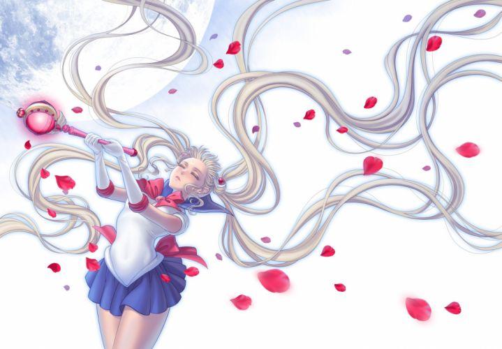 eclosion petals sailor moon tsukino usagi twintails wand wallpaper