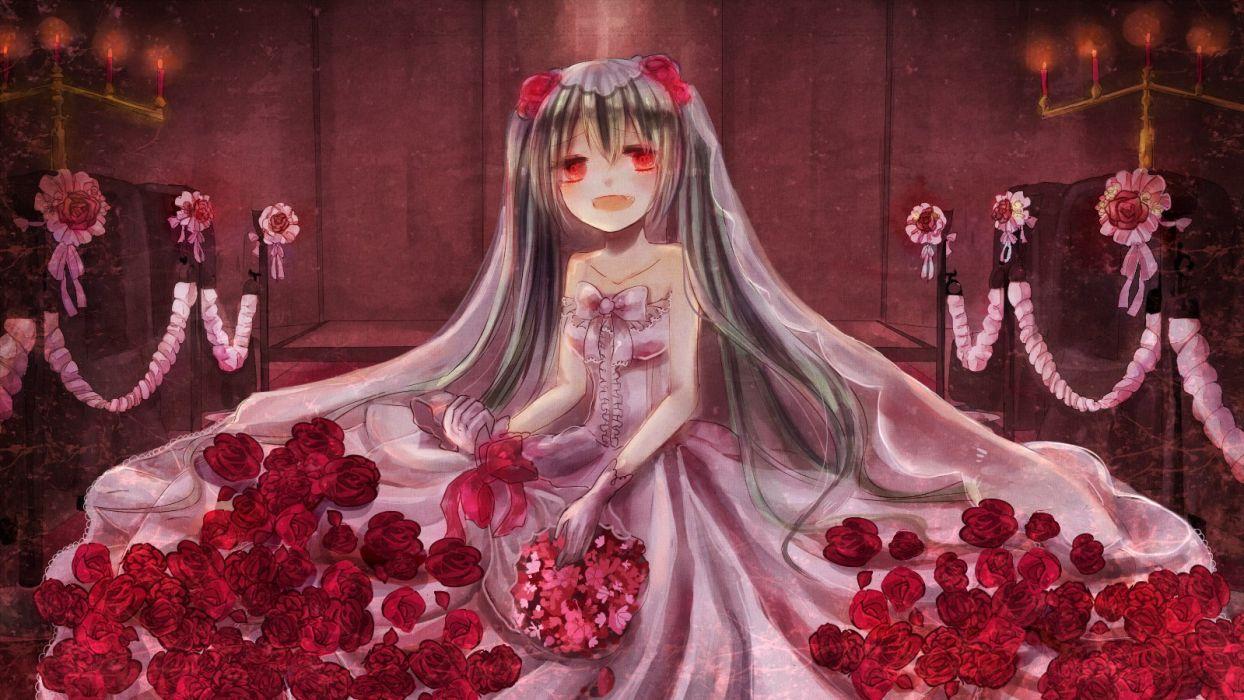 fang flowers hatasan hatsune miku red eyes rose vocaloid wedding attire wallpaper