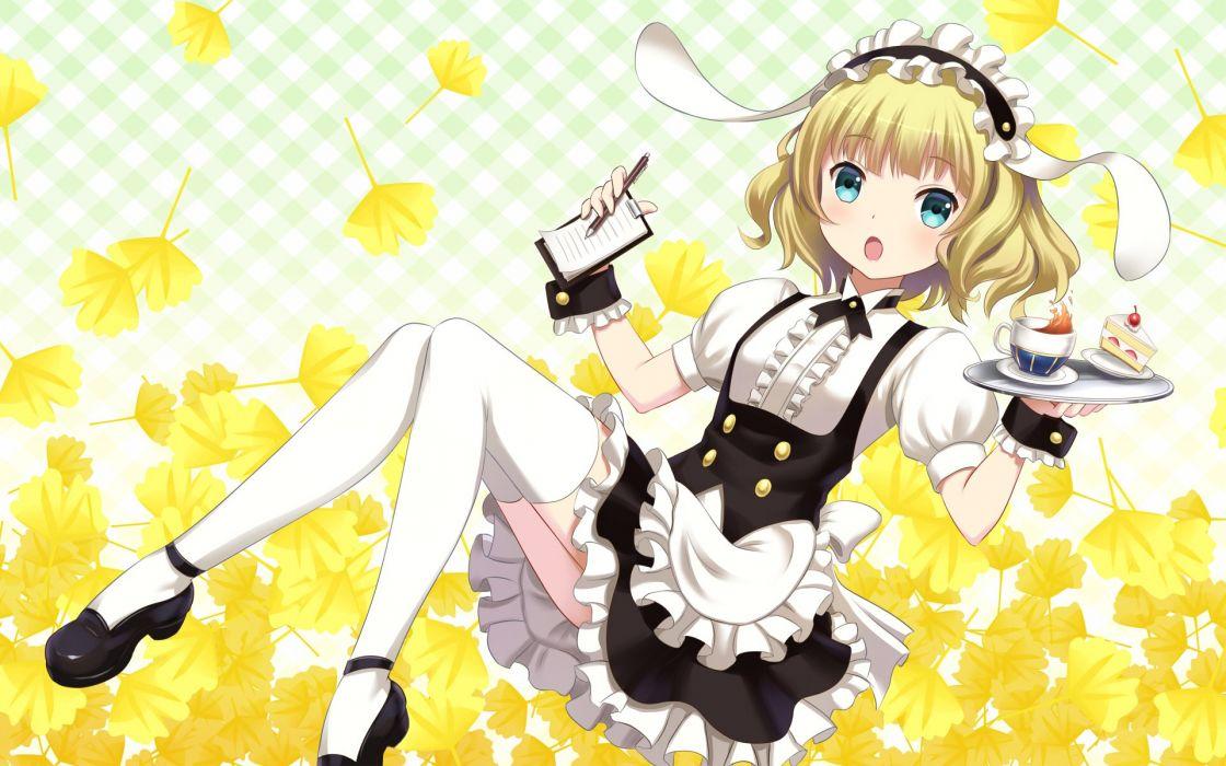 gochuumon wa usagi desu ka- kirima sharo waitress youbou wallpaper