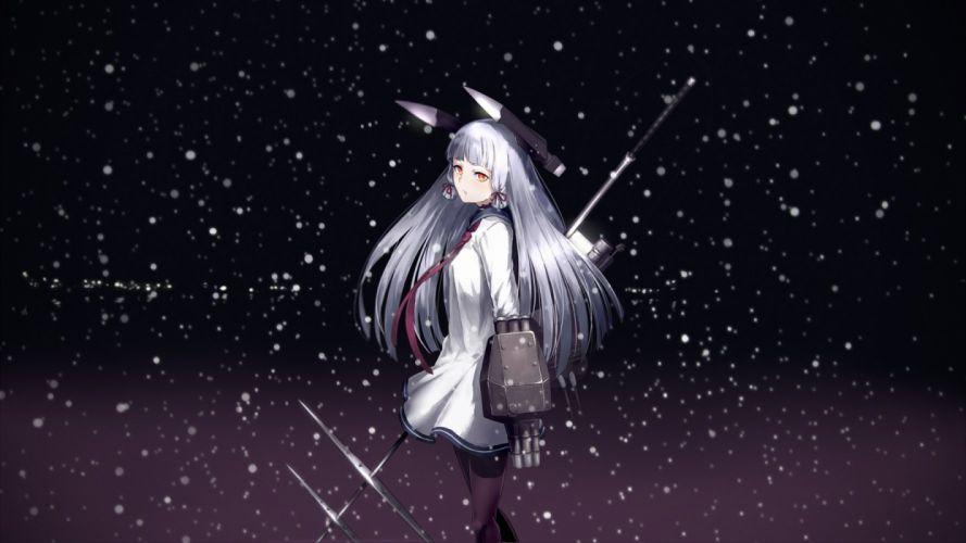 gray hair kantai collection long hair murakumo (kancolle) night orange eyes pennel snow tie weapon wallpaper