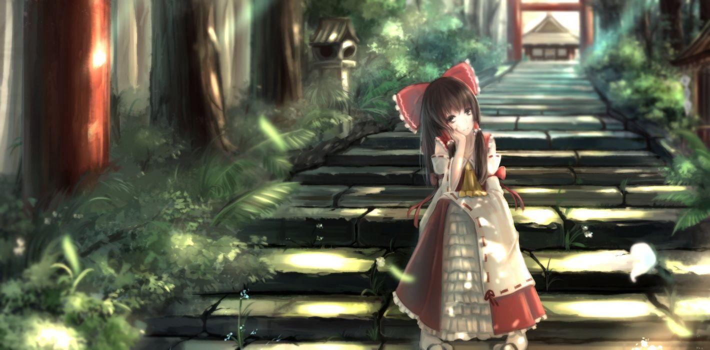 hakurei reimu japanese clothes kikivi miko stairs torii touhou wallpaper