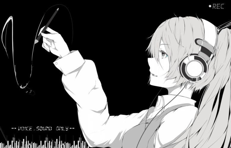 hatsune miku headphones long hair marumoru monochrome twintails vocaloid wallpaper
