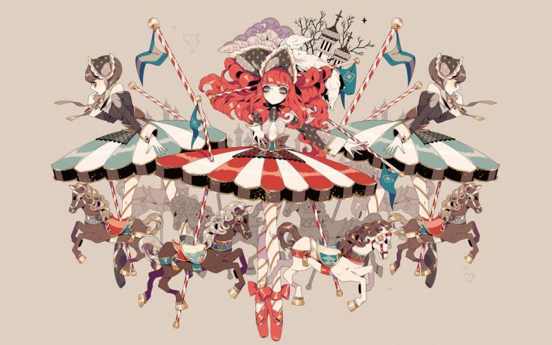 Horses shikimi (yurakuru) original Hat Dress Anime Girls original wallpaper
