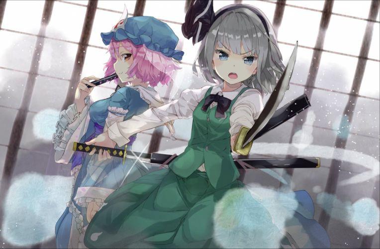 katana konpaku youmu saigyouji yuyuko sword touhou weapon yukizumi remon wallpaper