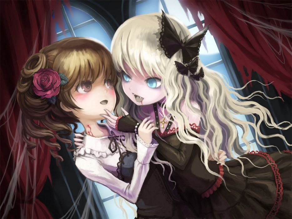 Vampires death-colle ume (illegal bible) original Two Dress Blonde girl Brown haired Anime Girls wallpaper