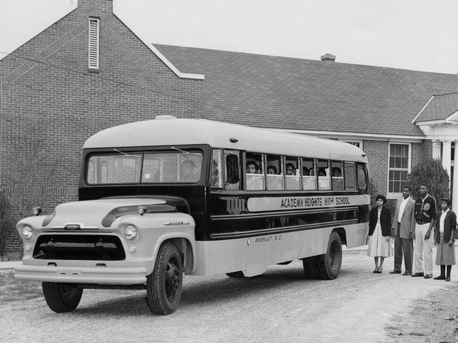 956 Chevrolet 6800 School Bus (6E-6802) transport retro     g wallpaper