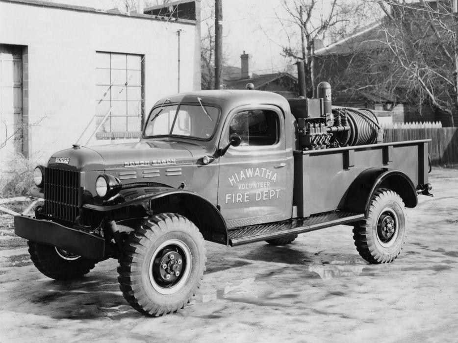 1950 Dodge Power Wagon Pickup Pumper (B-2-PW) firetruck retro emergency pickup   f wallpaper