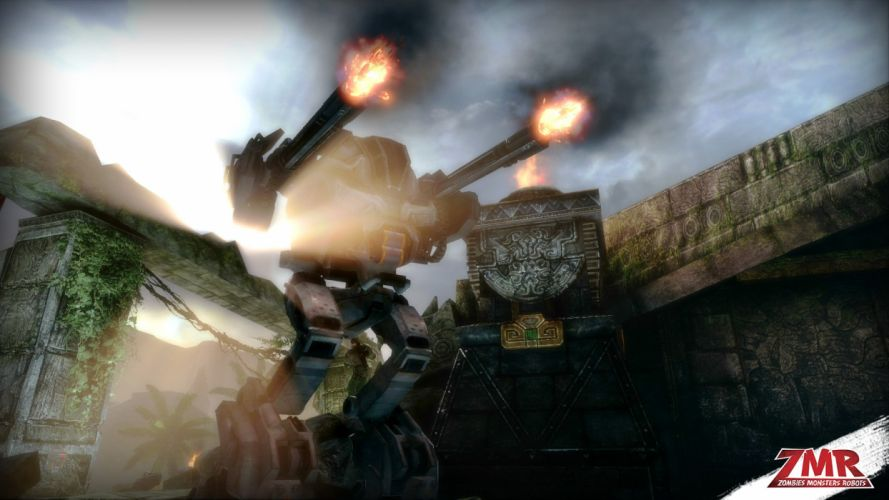 ZOMBIES MONSTERS ROBOTS shooter action sci-fi zmr fighting horror (1) wallpaper