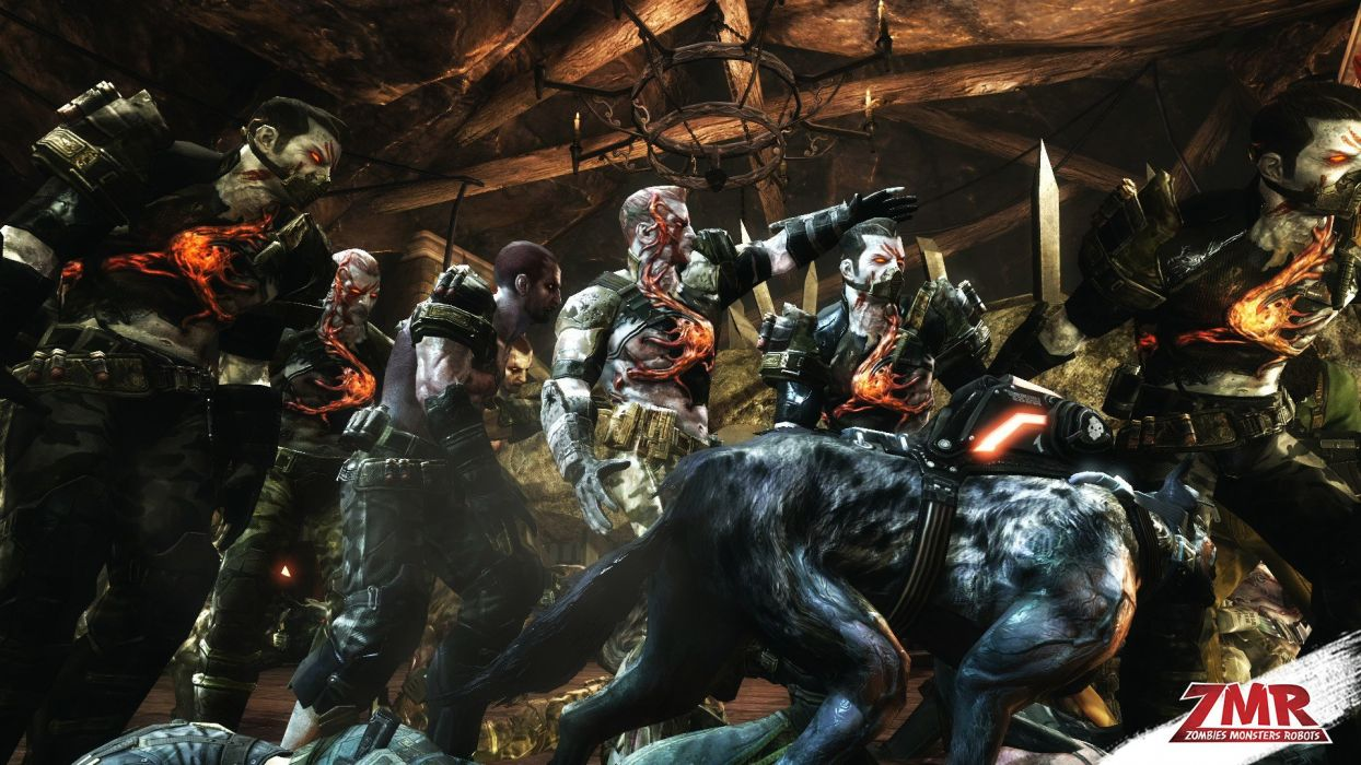 ZOMBIES MONSTERS ROBOTS shooter action sci-fi zmr fighting horror (13) wallpaper