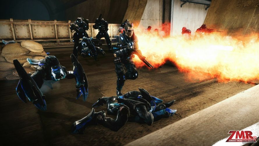 ZOMBIES MONSTERS ROBOTS shooter action sci-fi zmr fighting horror (8) wallpaper