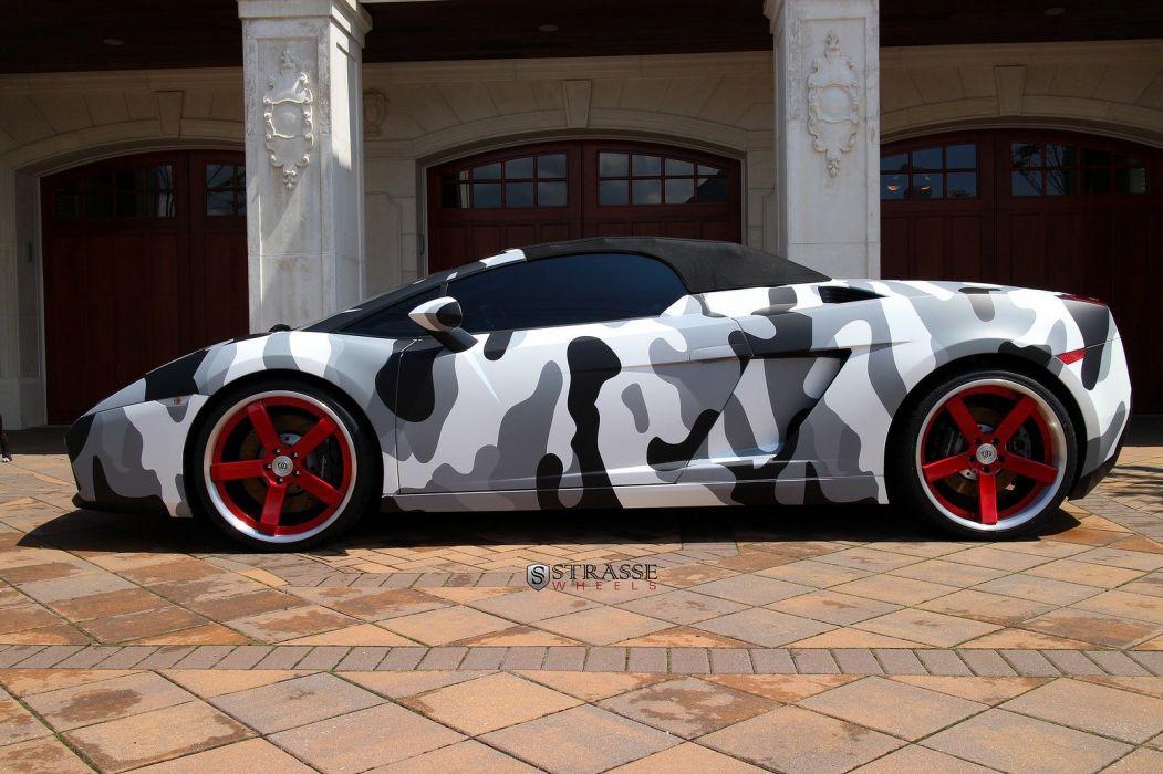 cars Gallardo strasse Italia Lamborghini spider Supercar vehicles wheels camouflage wallpaper