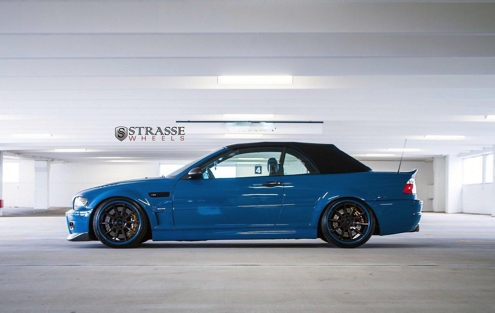 Bmw E46 M3 Convertible Blue Strasse Tuning Wheels Wallpaper 1600x1013 390364 Wallpaperup