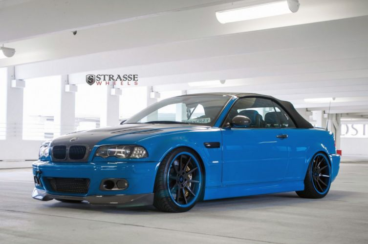 BMW e46 m3 convertible blue strasse Tuning wheels wallpaper
