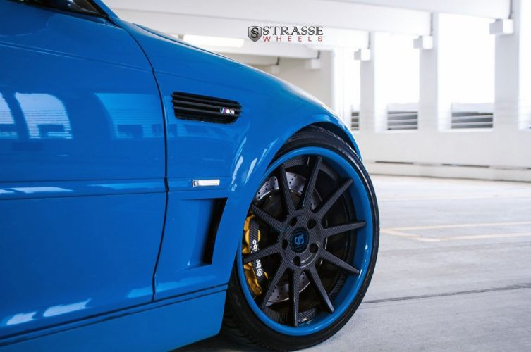 BMW e46 m3 convertible blue strasse Tuning wheels wallpaper