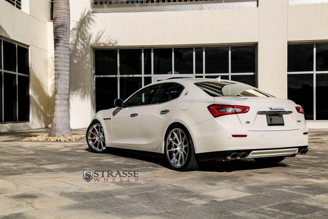 Maserati Ghibli white Strasse Wheels tuning cars wallpaper