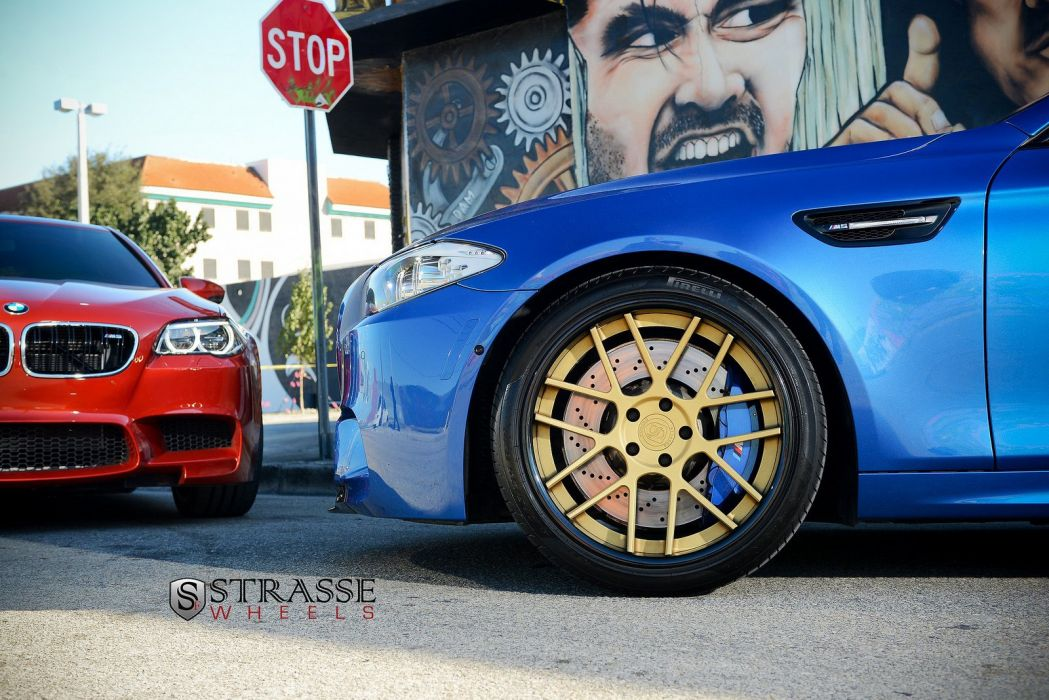 BMW M5 F10 strasse Tuning wheels blue wallpaper