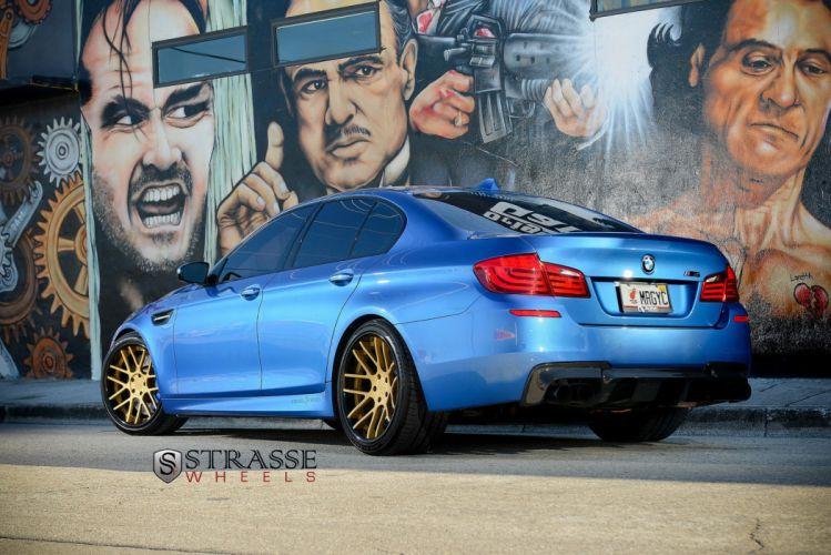 BMW M5 F10 strasse Tuning wheels blue wallpaper
