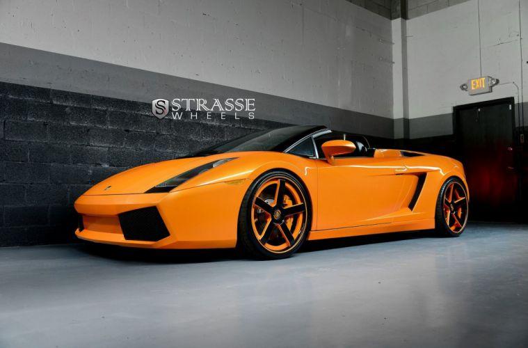 orange cars Gallardo Italia Lamborghini spider strasse Supercar vehicles wheels wallpaper