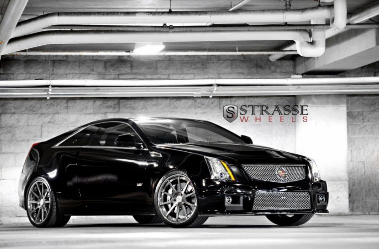 Cadillac cars Coupe cts v strasse Tuning wheels black wallpaper
