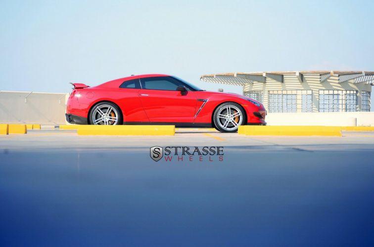 cars GTR Nissan red strasse Tuning wheels wallpaper