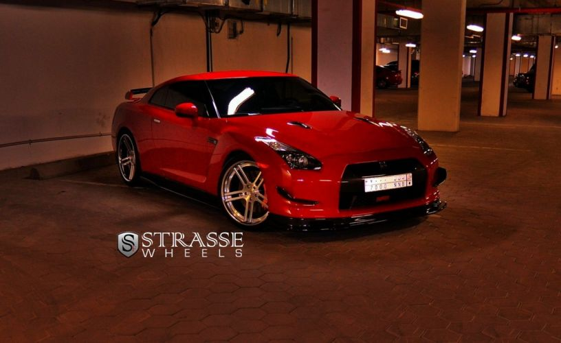 GTR Nissan red strasse Tuning wheels wallpaper