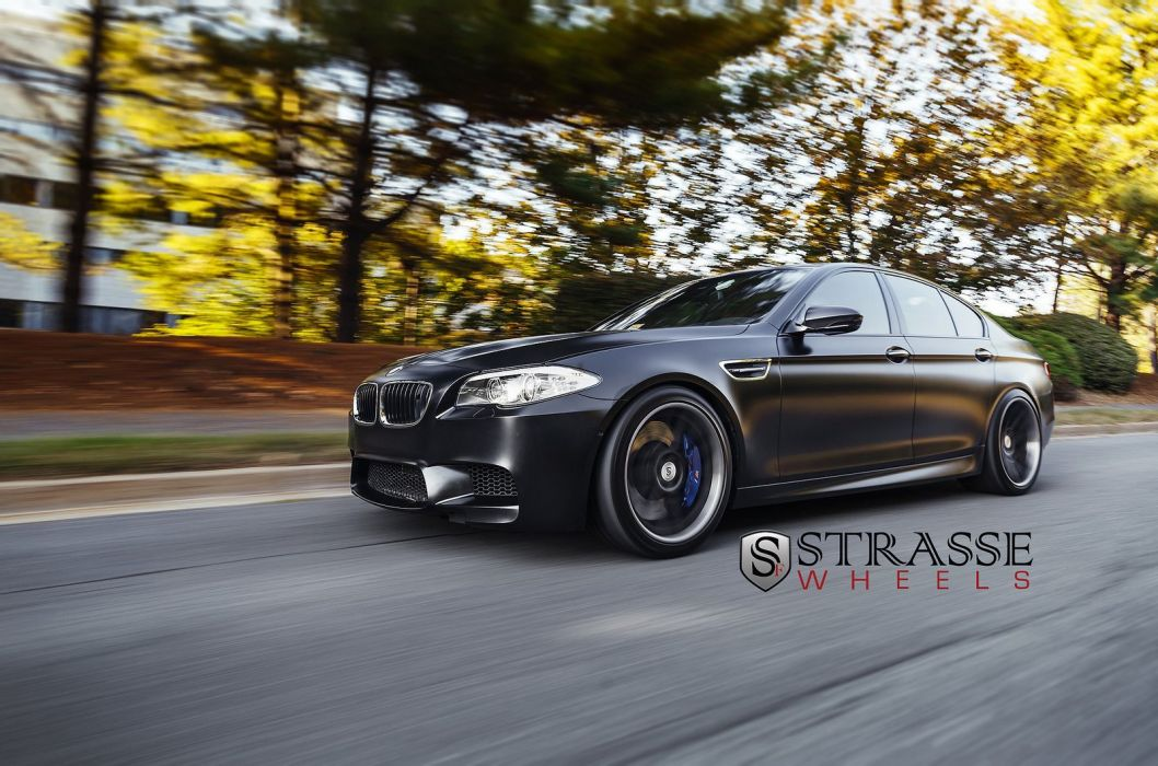 black BMW f10 strasse Tuning wheels wallpaper