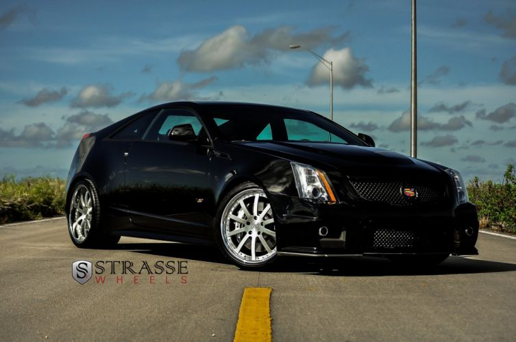 black Cadillac cars Coupe cts-v strasse Tuning wheels wallpaper