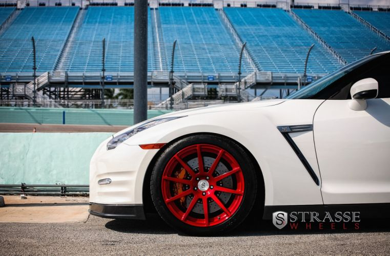 cars GTR Nissan strasse Tuning wheels white wallpaper