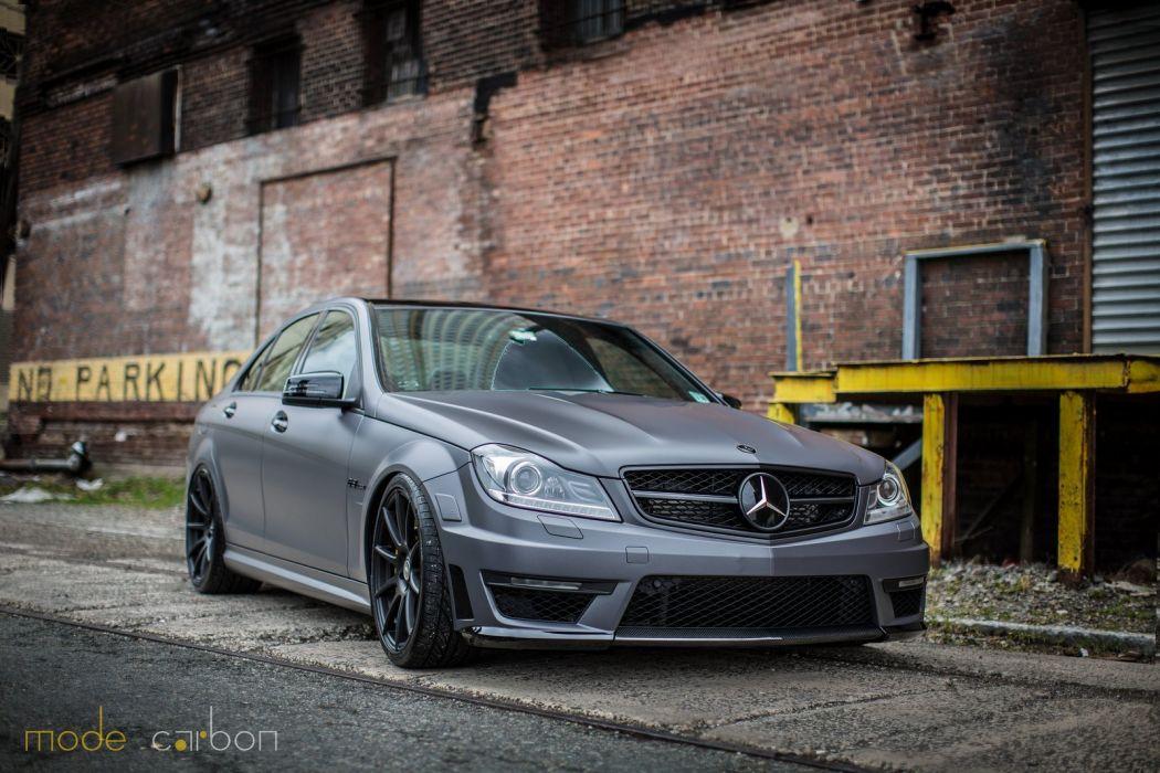 amg grey c63 Mercedes sedan Tuning wallpaper