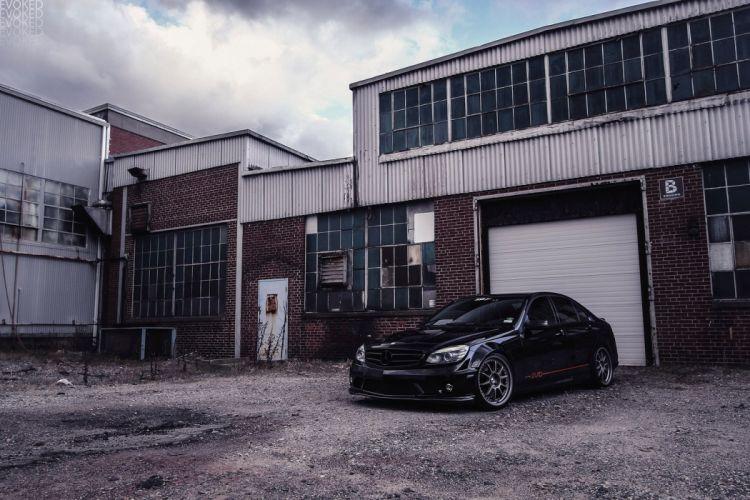 amg c63 black Mercedes sedan Tuning wallpaper
