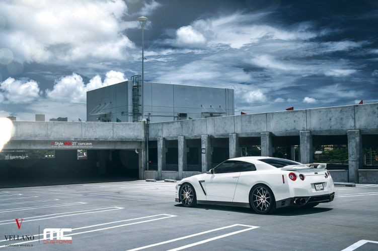 nissan GTR Vellano wheels tuning cars white wallpaper