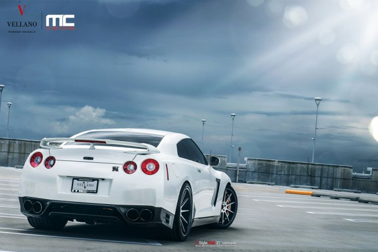 nissan GTR Vellano wheels tuning cars white wallpaper