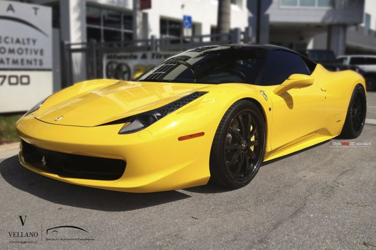 FERRARI 458 jaune Vellano wheels tuning cars wallpaper
