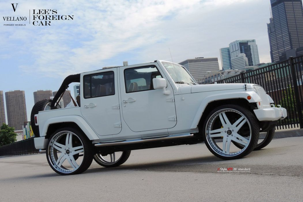 jeep wrangler white Vellano wheels tuning cars wallpaper