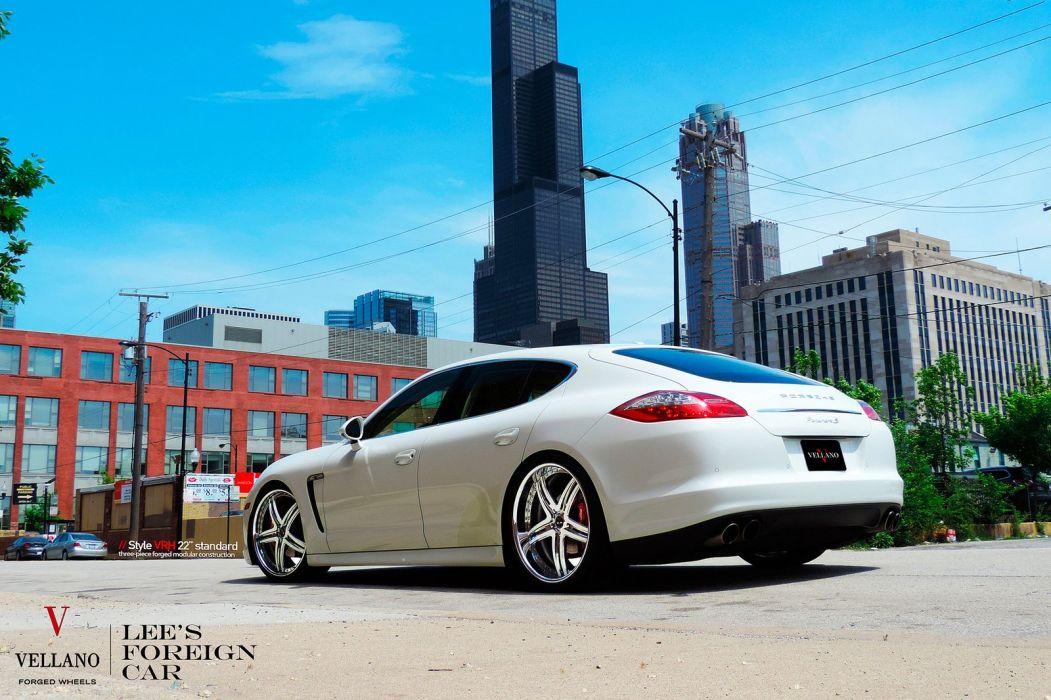 Porsche Panamera WHITE Vellano wheels tuning cars wallpaper