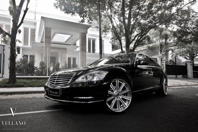 Mercedes class-S W221 black Vellano wheels tuning cars wallpaper