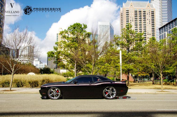 Dodge Challenger supercharger black Vellano wheels tuning cars wallpaper