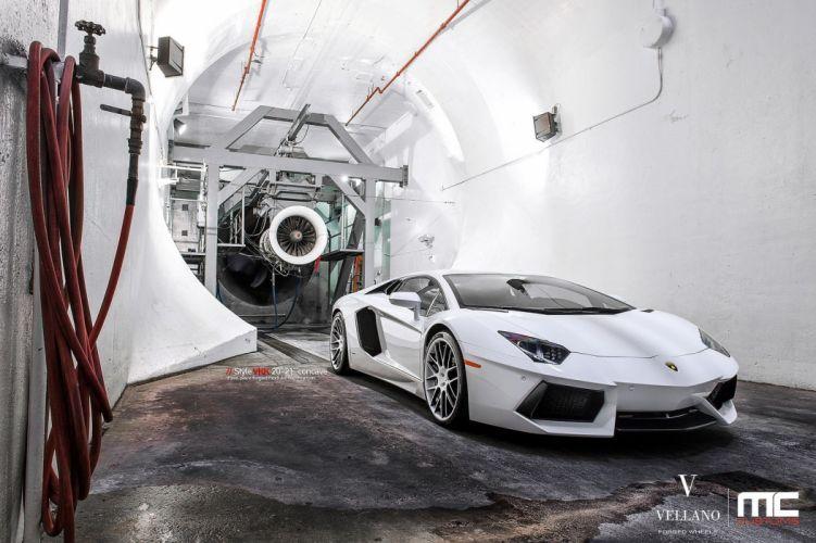 Lamborghini Aventador white supercars Vellano wheels tuning cars wallpaper