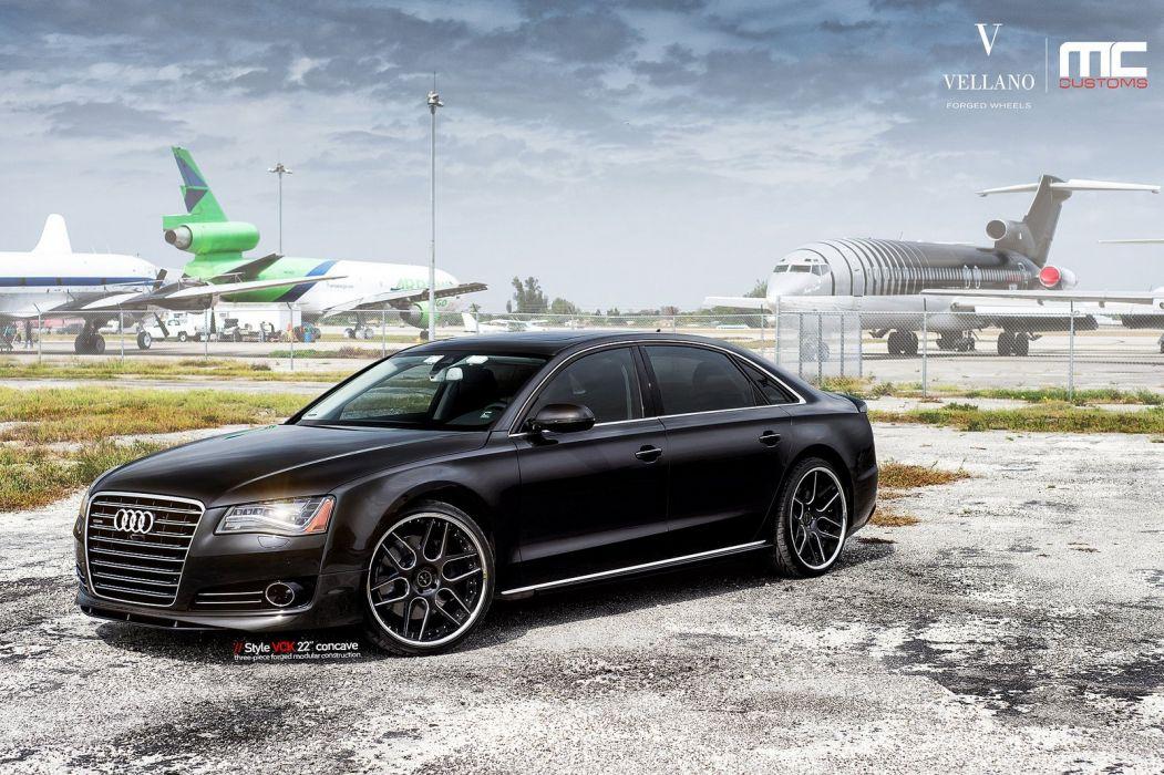 Audi A8 black germany Vellano wheels tuning cars wallpaper