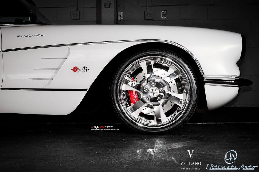 corvette c1 white Vellano wheels tuning cars wallpaper