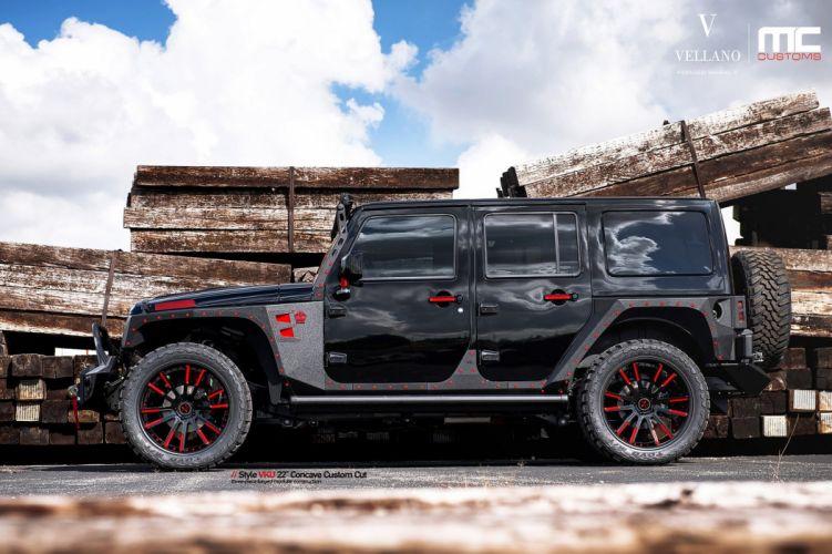 jeep wrangler suv black Vellano wheels tuning cars wallpaper