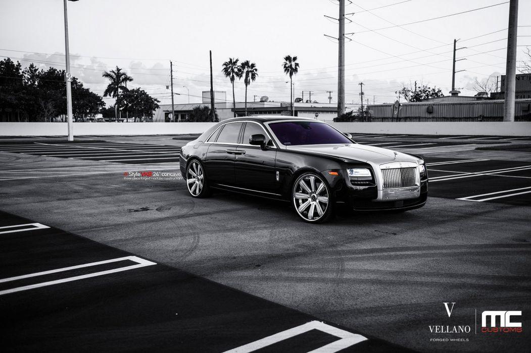black cars Ghost rolls royce Tuning vellano wheels wallpaper