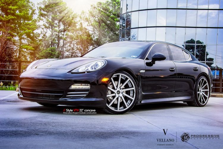 black cars panamera Porsche Tuning vellano wheels wallpaper