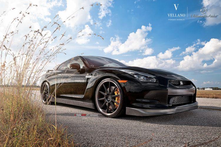 Nissan GTR black Vellano wheels tuning cars wallpaper