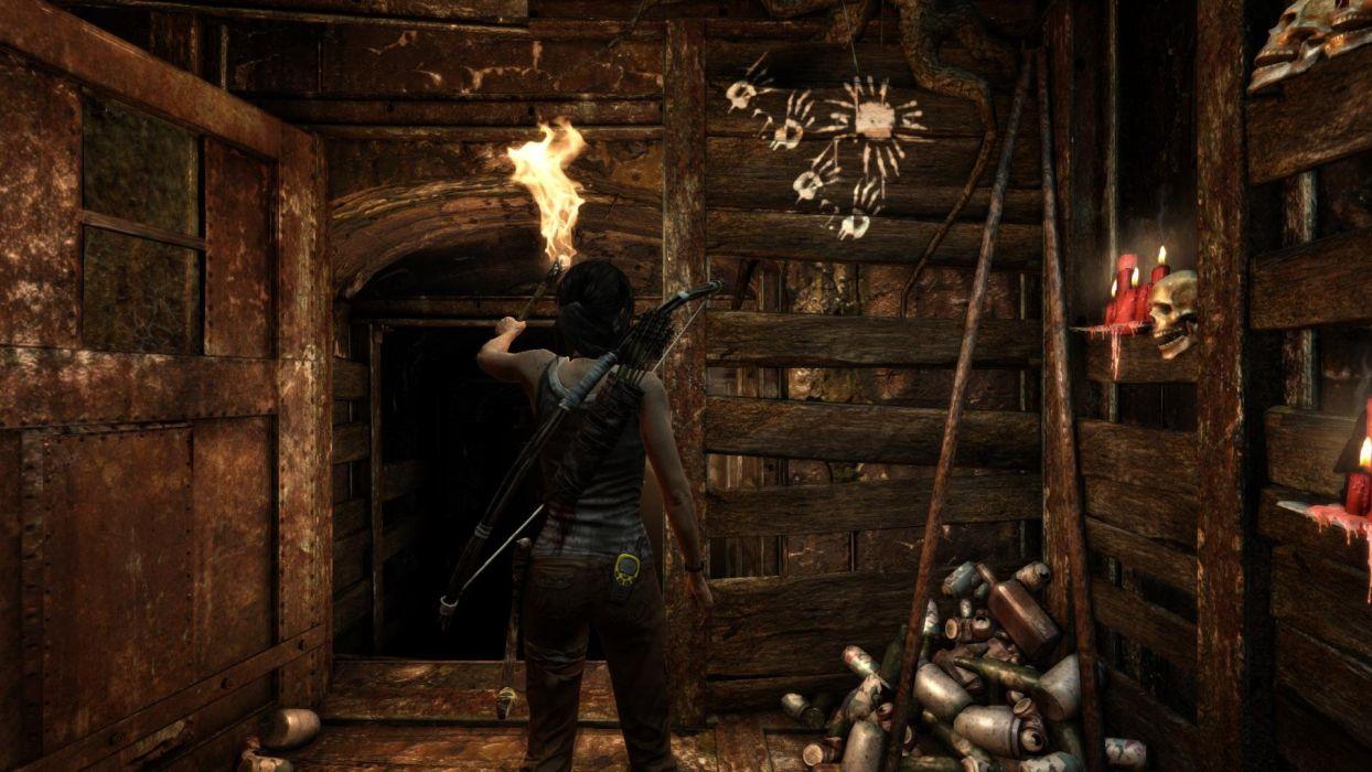 Tomb Raider Lara Croft Fire Tourch wallpaper