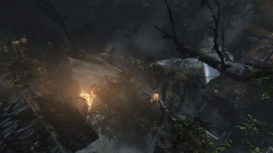 Tomb Raider Lara Croft Plane Fire Forest wallpaper