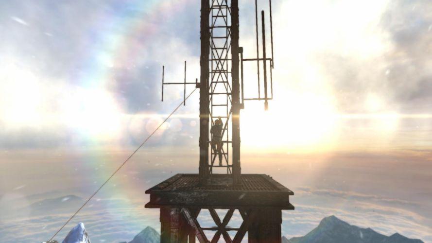 Tomb Raider Lara Croft Mountains Snow Cold Sun Clouds wallpaper