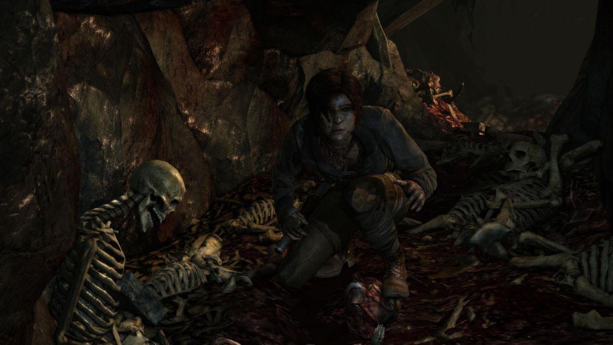 Tomb Raider Lara Croft Dead Death Skull Skeleton Dark wallpaper