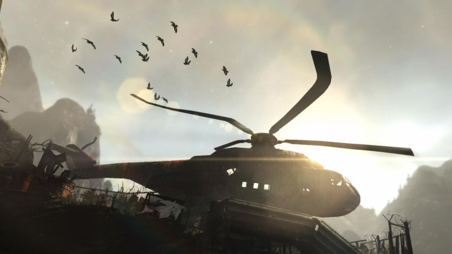 Tomb Raider Lara Croft Helicopter Crow Crows wallpaper